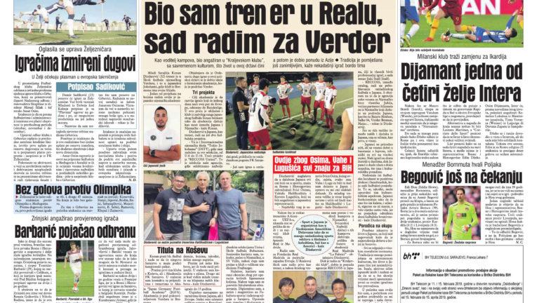サライェヴォ新聞にレコスの活動が紹介されました